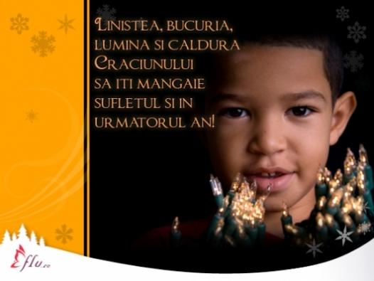 Felicitare - Lumina si caldura - Felicitari Craciun - Felicitari.flu.ro